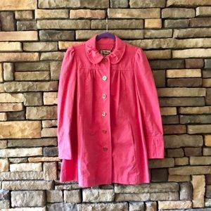Juicy Couture Pink Light Weight Ruffle Trench Coat